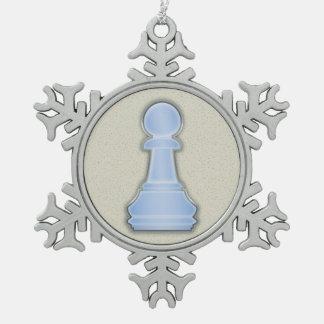Chess Shiny Blue Glass Chess Pawn Snowflake Pewter Christmas Ornament