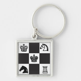 Chess Silver-Colored Square Keychain