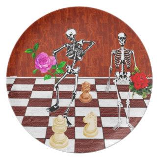 Chess Skeletons Dinner Plates