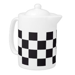 Chess Square Pattern - black + your background Teapot