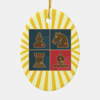 Chess Squares Oval Ornament