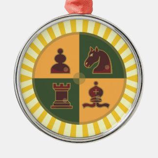 Chess Squares Premium Round Ornament
