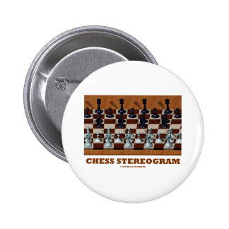 Chess Stereogram (Chess Pieces 3-D) Pinback Button