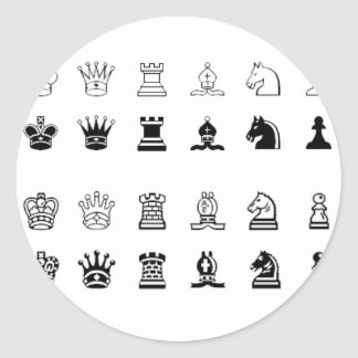 Chess symbols classic round sticker