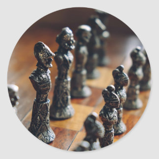Chess Themed, Antique Vintage Chessman Set In Wood Classic Round Sticker
