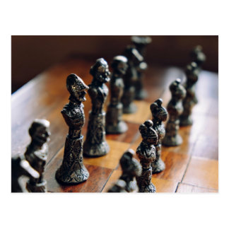 Chess Themed, Antique Vintage Chessman Set In Wood Postcard