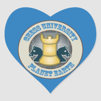 Chess University on Planet Earth Emblem Heart Stickers