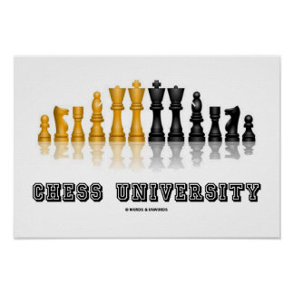 Chess University Reflective Chess Set Poster