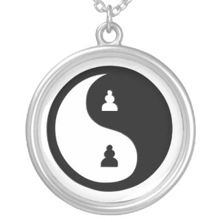 Chess ying Yang Round Pendant Necklace