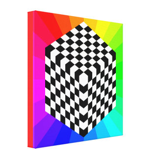 chessboard-153303 OPTICAL ILLUSIONS RAYS CUBES SQU Gallery Wrapped Canvas