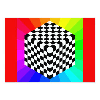 chessboard-153303 OPTICAL ILLUSIONS RAYS CUBES SQU Card