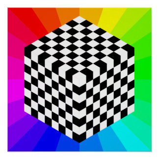 chessboard-153303 OPTICAL ILLUSIONS RAYS CUBES SQU Posters