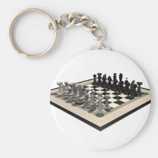 Chessboard and Chess Pieces: Basic Round Button Keychain