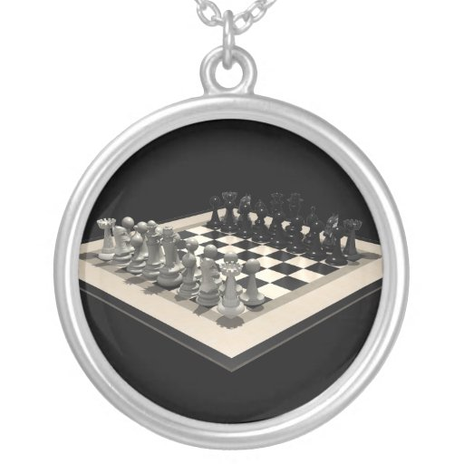Chessboard and Chess Pieces: Necklace