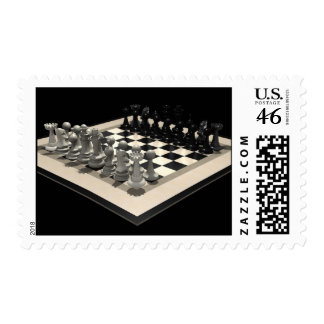 Chessboard and Chess Pieces: Postage