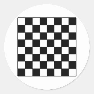 Chessboard B&W The MUSEUM Zazzle Gifts Classic Round Sticker