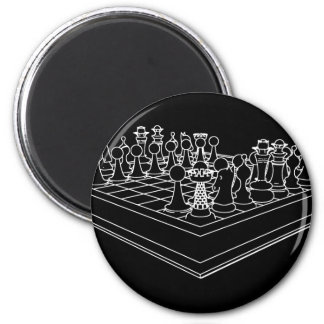 Chessboard & Chess Pieces: Refrigerator Magnet