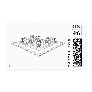Chessboard & Chess Pieces: Stamps