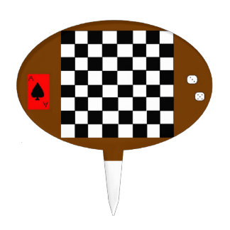 Chessboard, Dice, And Playing Card Cake Topper