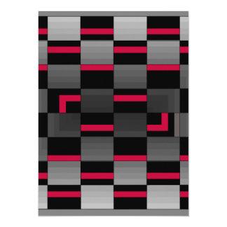 Chessboard Neon Red City Urban Design Card