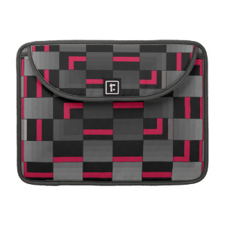 Chessboard Neon Red City Urban Design Sleeves For MacBook Pro