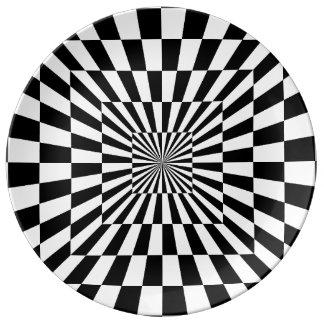 Chessboard optical illusion porcelain plates