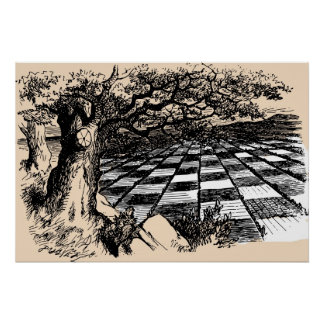 Chessboard Through the Looking Glass Poster