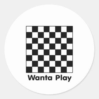 Chessboard Wanta B&W The MUSEUM Zazzle Gifts Classic Round Sticker
