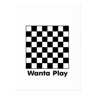 Chessboard Wanta B&W The MUSEUM Zazzle Gifts Postcard