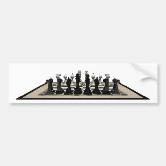 Chessboard with Chess Pieces: Bumper Stickers