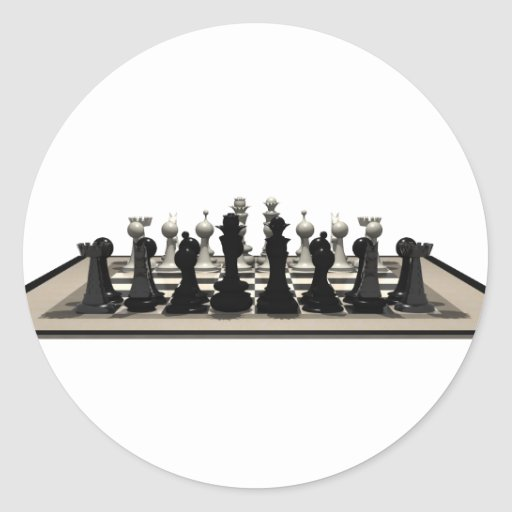 Chessboard with Chess Pieces: Classic Round Sticker