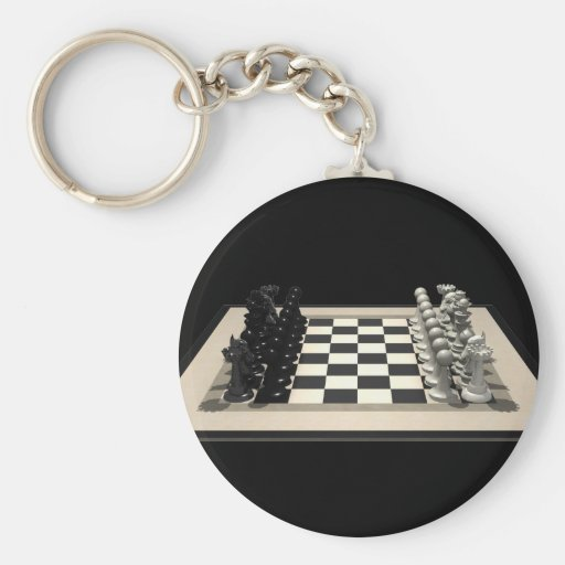 Chessboard with Chess Pieces: Keychain