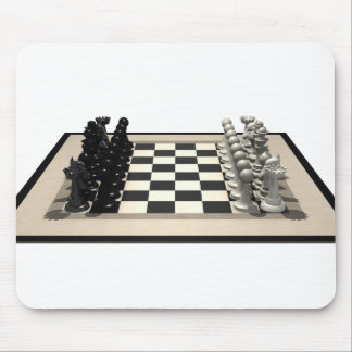 Chessboard with Chess Pieces: Mouse Pad