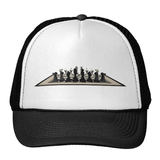 Chessboard with Chess Pieces: Trucker Hat