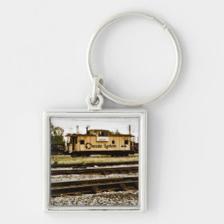 Chessie System Caboose at Toledo, OH 1996 Silver-Colored Square Keychain