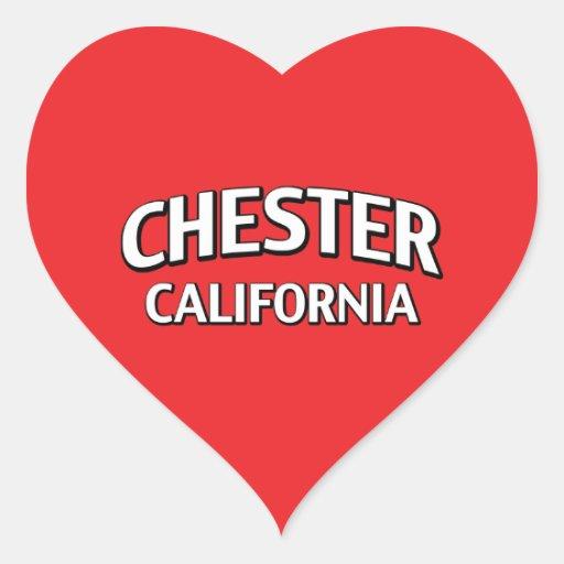Chester California Pegatina En Forma De Corazón
