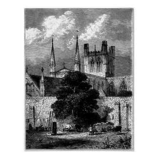 Chester Cathedral and part of City Wall Print