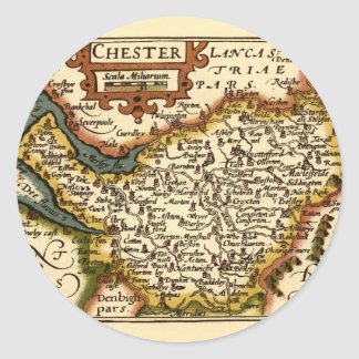 """""""Chester"""" Cheshire, County Map, England Classic Round Sticker"""