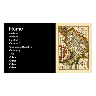 """""""Chester"""" Cheshire, County Map, England Double-Sided Standard Business Cards (Pack Of 100)"""