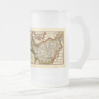 """Chester"" Cheshire, County Map, England Frosted Glass Beer Mug"