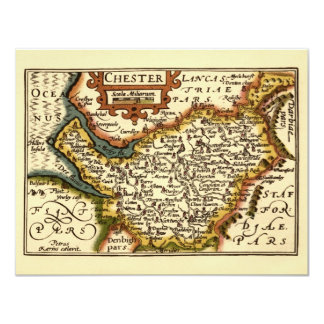"""""""Chester"""" Cheshire, County Map, England 4.25x5.5 Paper Invitation Card"""