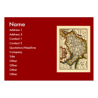 """""""Chester"""" Cheshire, County Map, England Large Business Cards (Pack Of 100)"""