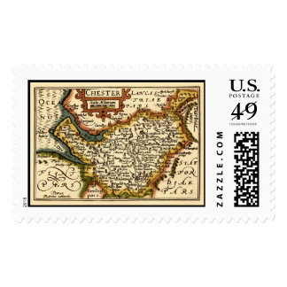 """Chester"" Cheshire, County Map, England Postage"