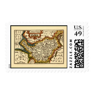 """""""Chester"""" Cheshire, County Map, England Postage Stamp"""