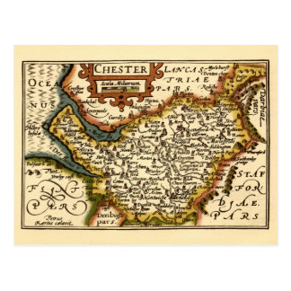 """""""Chester"""" Cheshire, County Map, England Postcard"""