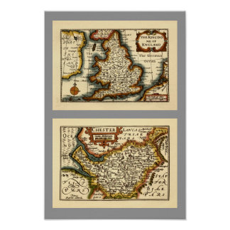 """""""Chester"""" Cheshire, County Map, England Posters"""