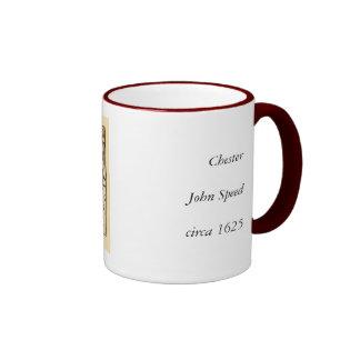 """Chester"" Cheshire, County Map, England Ringer Mug"