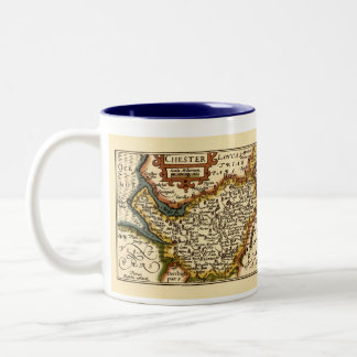 """Chester"" Cheshire, County Map, England Two-Tone Coffee Mug"