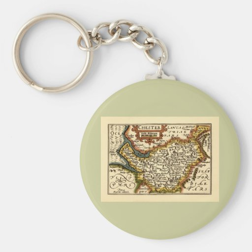 """""""Chester"""" Cheshire, mapa del condado, Inglaterra Llavero Redondo Tipo Pin"""