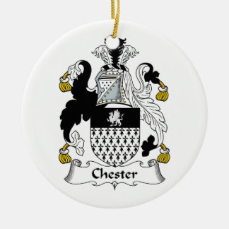 Chester Family Crest Double-Sided Ceramic Round Christmas Ornament